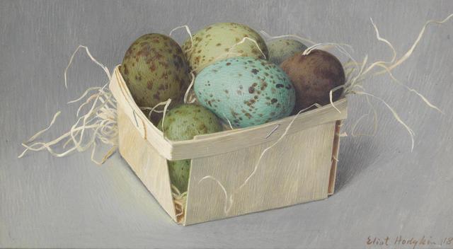 Eliot Hodgkin (British, 1905-1987) Gull's eggs in a box 13 1/2 x 24 cm. (5 1/4 x 9 1/2 in.)