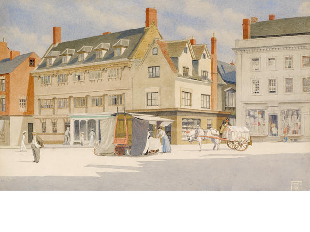 Joseph Edward Southall (British, 1861-1944) Banbury Market Place 24 x 37 cm. (9 1/4 x 14 1/2 in.)