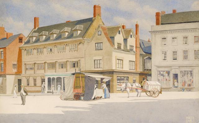 Joseph Edward Southall (British, 1861-1944) Banbury Market Place 24 x 37 cm. (9 1/4 x 14 1/2 in.)