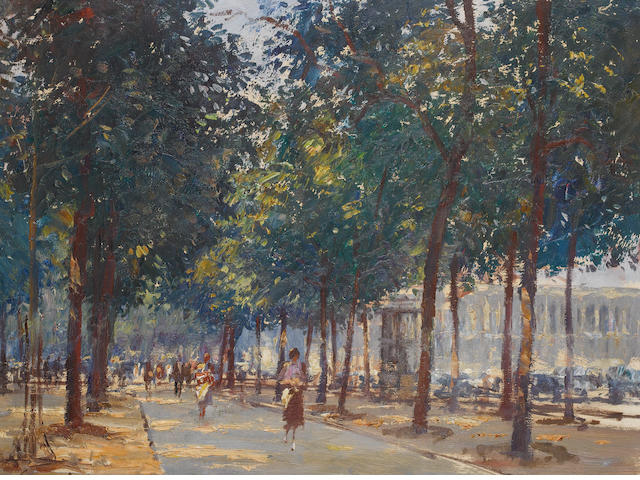 Edward Seago R.W.S. (British, 1910-1974) Corner of the Champs Élysées 46 x 61 cm. (18 x 24 in.)