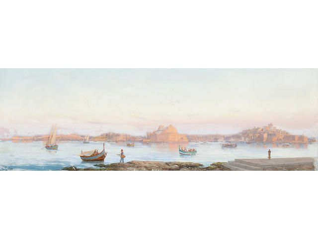 Luigi Maria Galea (Maltese, 1847-1917) Panoramic view of Malta