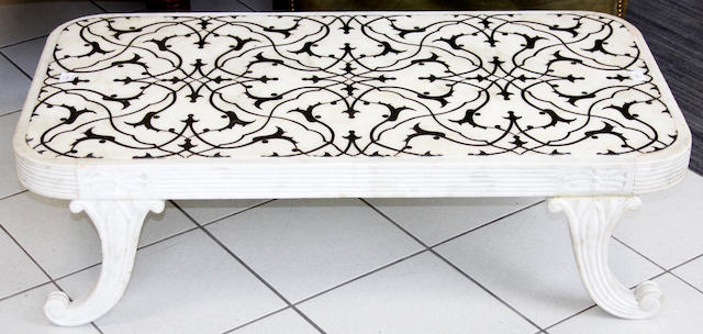 An Indian white marble and pietra dura terrace table