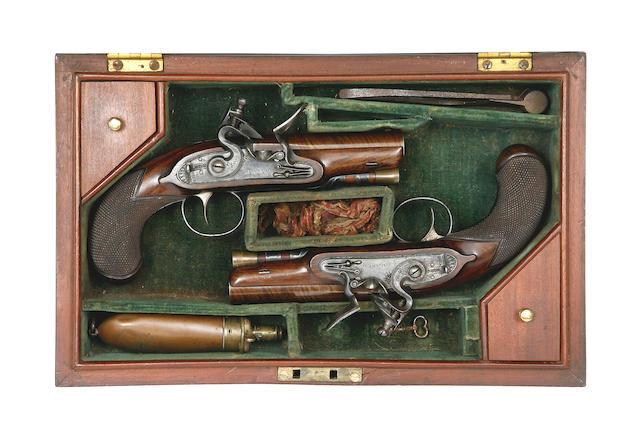 A Fine Cased Pair Of 40-Bore Flintlock Travelling Or Overcoat Pistols