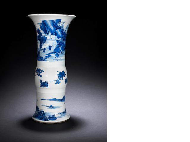 A blue and white flaring beaker vase, gu Kangxi