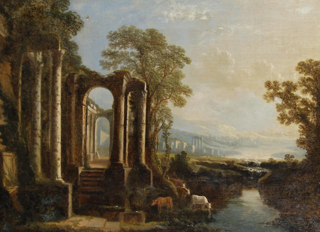 Follower of Pierre Antoine Patel (Paris 1648-1707) An Italianate landscape, with cattle watering near classical ruins