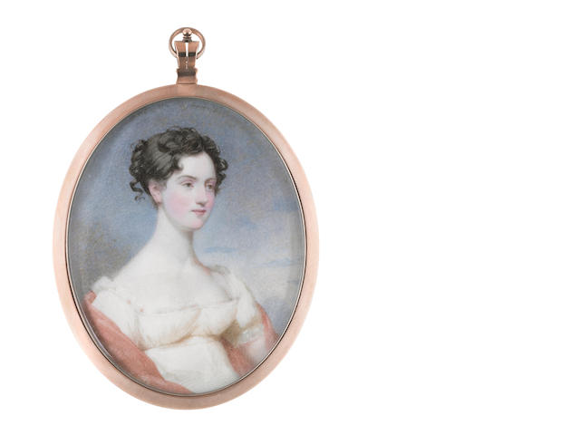 Andrew Robertson, MA (Scottish, 1772-1845) Miss Gordon of Carroll, wearing ivory dress with lace trim to her décollage, pink stole, her dark hair upswept and curled