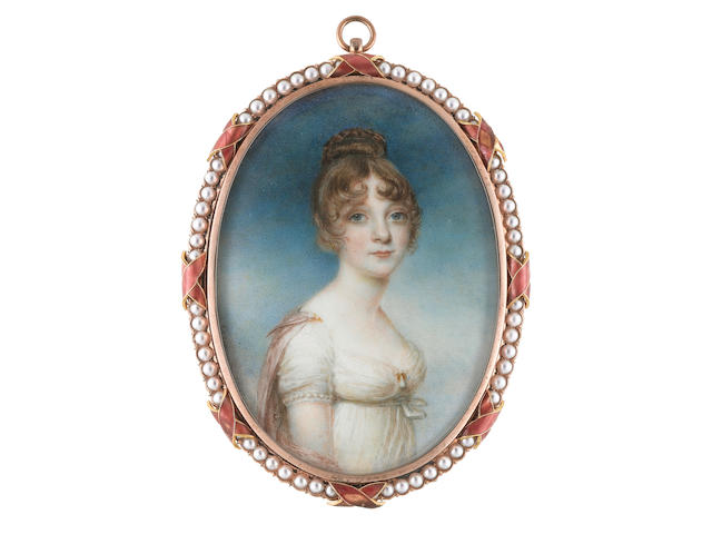 William Grimaldi (British, 1751-1830) A Lady, wearing white dress with a strand of pearls to the trim of her sleeve, a gold and pearl pendent brooch at her corsage, pink stole fastened at her shoulders with a gold brooch pin, her hair upswept and held in place with a tortoiseshell comb