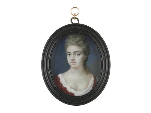 Peter Cross (British, circa 1650-1724) Theodosia Monckton (née Fountaine), wearing crimson robe, white chemise, her hair upswept