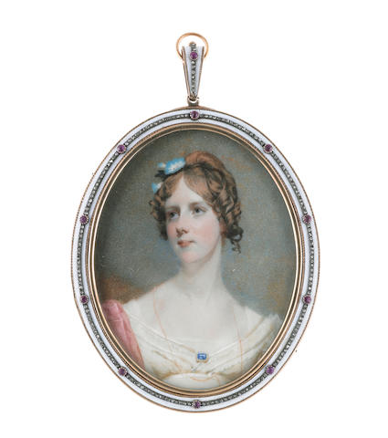 Andrew Robertson, MA (Scottish, 1772-1845) Lady Charlotte Lindsey (d. 1858), wearing white dress and slip, pink stole, blue enamel brooch with border of pearls fastened at her corsage, a fine gold necklace suspended from her neck, her hair upswept, curled and dressed with black ribbon and blue flowers