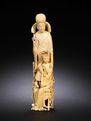 A large ivory group Late Qing Dynasty
