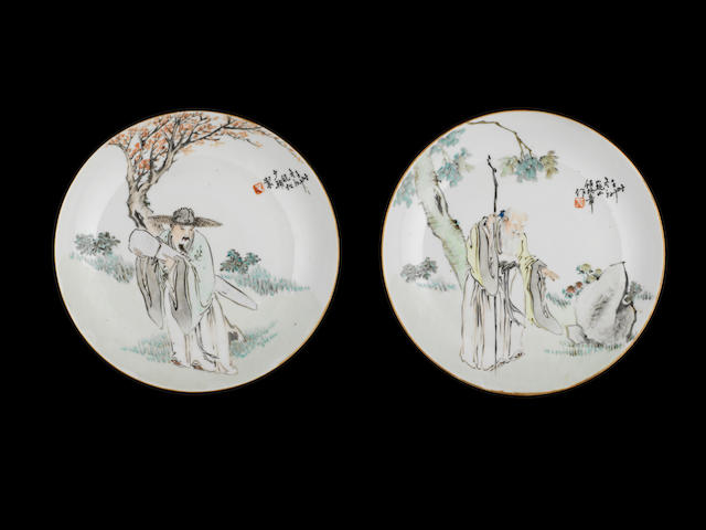 A pair of enamelled saucer dishes Ren Huanzhong, Qianjiang school, circa 1880