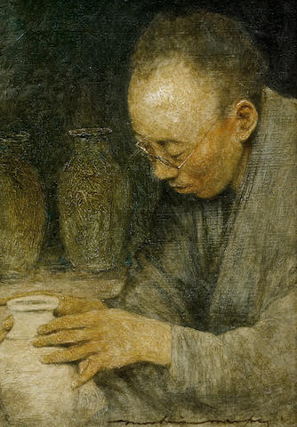 Mortimer Luddington Menpes (British, 1855-1938), Mortimer Menpes, a potter The potter