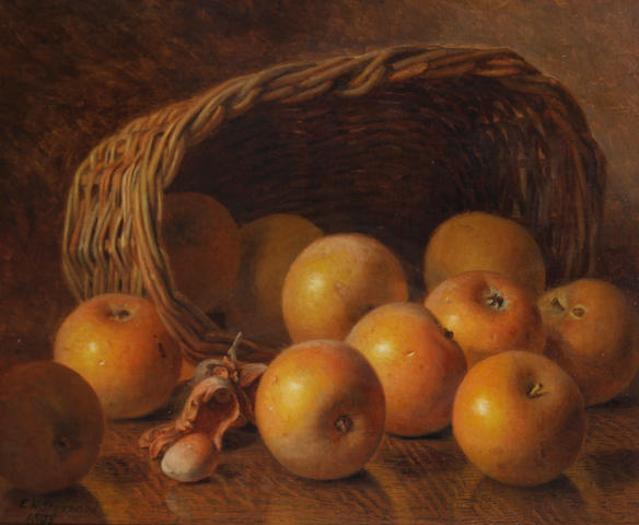Eloise Harriet Stannard (British, circa 1828-1915) Still life of apples and a basket