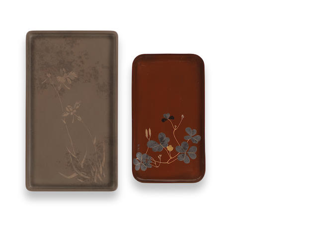 Two rectangular lacquer bon (trays) One by Shibata Zeshin (1807-1891) and one by Ikeda Taishin (1825-1903), Meiji Period
