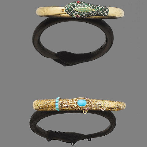 Two gem-set snake bangles (2)