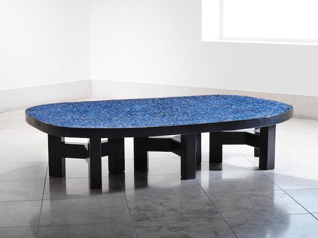 Ado Chale, an occasional table, circa 1970 lapis lazuli, resin, and lacquered and painted wood,