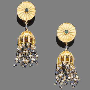 A pair of gem-set pendent earrings