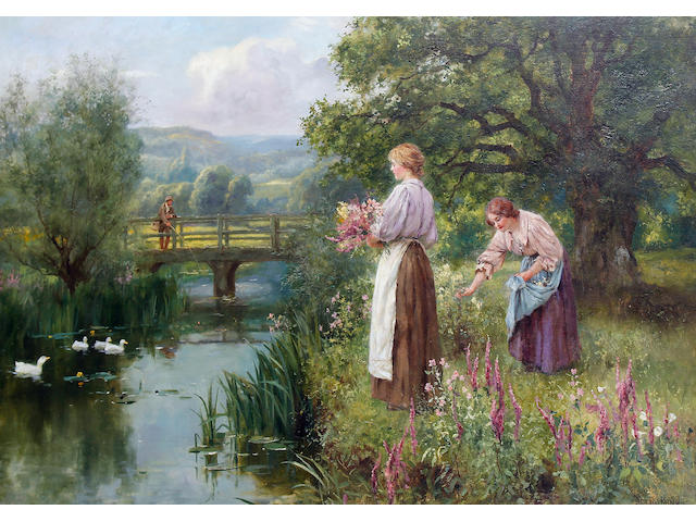 Henry John Yeend King (British, 1855-1924) Picking Flowers