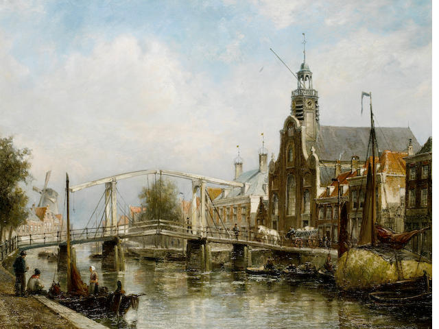 Cornelis Christiaan Dommelshuizen (Dutch, 1842-1928) View of the Magere Brug, Amsterdam