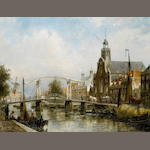 Cornelis Christiaan Dommersen (Dutch, 1842-1928) View of the Magere Brug, Amsterdam
