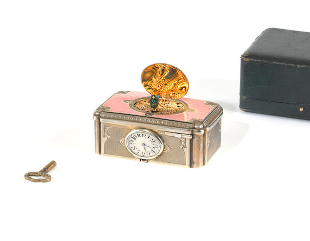 A gilt-metal and enamel singing bird box with timepiece, by C. H. Marguerat, circa 1930,