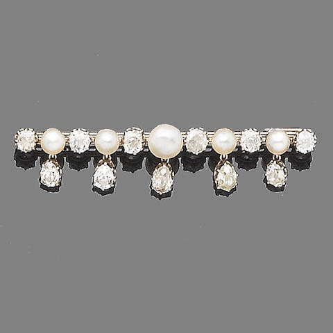 A diamond and pearl bar brooch,