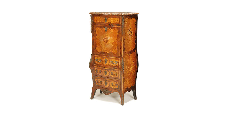 A French late 19th/early 20th century kingwood, bois satine, marquetry and metal mounted bombé secretaire à abattant in Louis XV style