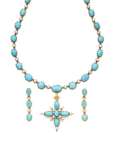 A 19th century turquoise and diamond pendant necklace and earring suite (2) (illustrated above)