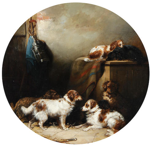 Attributed to George Armfield (British, 1810-1893) Dogs in a stable interior, together with another work in the style of George Armfield, (2).