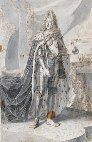 Dutch School, late 17th Century Portrait of a King, full-length, holding an orb