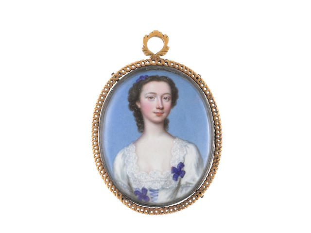 Christian Friedrich Zincke (German, 1683/4-1767) Miss Catherine Talbot (1721–1770), wearing white dress with lace trim to her décollage, decorated with blue ribbon and two blue rosettes to the bodice, her dark hair upswept and dressed with a blue ribbon bow