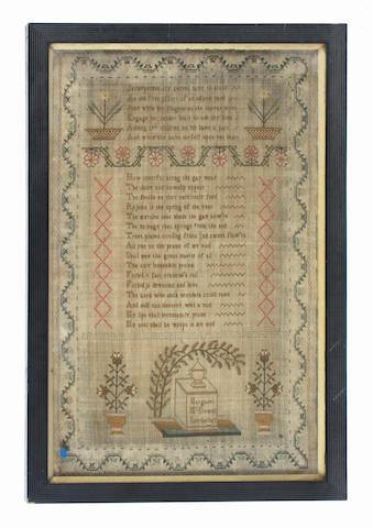 An 1813 sampler by Margaret McDowell