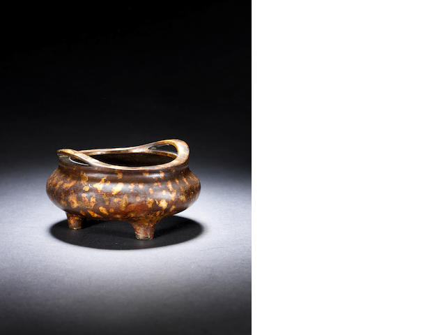 A small gold-splashed bronze bombé censer Xuande six-character mark, 17th/18th century
