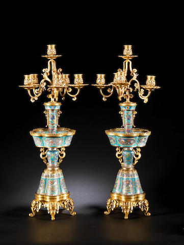A fine pair of ormolu-mounted cloisonné enamel candelabra The enamel Chinese, 18th century, the mounts French, by F.Barbedienne, circa 1870