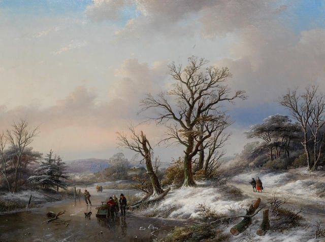 Jan Jacob Spohler (Dutch, 1811-1866) Winter landscape with figures on a frozen river