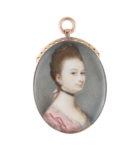 Jeremiah Meyer, RA (British, 1735-1789) A Lady, wearing pink figured gown with white lace slip, black choker, diamond earring, natural wig dressed with pearls and pink ribbons