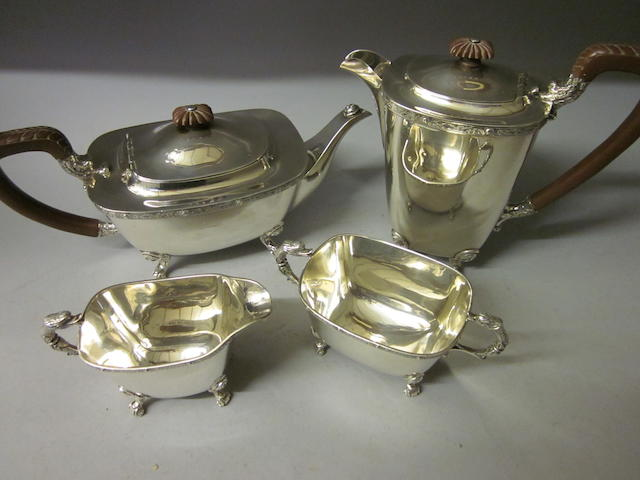 A four piece tea service, Birmingham 1947,   (4)