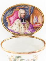 An important gilt-metal-mounted Ellwangen snuff-box with a portrait of Fürstprobst Anton Ignaz Josef Graf von Fugger, circa 1758-59