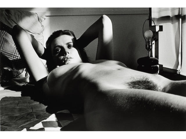 Helmut Newton (German, 1920-2004) Fiona Lewis, Nude Lying, Los Angeles, 1976 Paper 50.3 x 60.7cm (19 13/16 x 23 7/8in), image 38.3 x 56.5cm (15 1/16 x 22 1/4in)