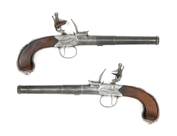 A Cased Pair Of 22-Bore Silver-Mounted Flintlock Box-Lock Pistols