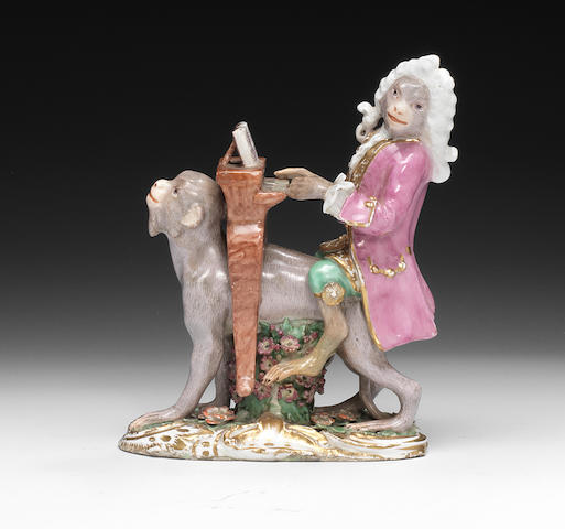 A Chelsea monkey band figure of the organist, circa 1760
