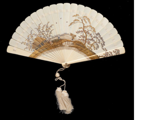 A large gold lacquer inlaid ivory-mounted brisé fan Meiji Period