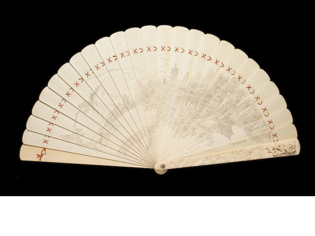 An exceptionally large and finely-carved ivory folding fan By Shoseishi Kanbi/Hiroyoshi and Kogyoku, Meiji Period
