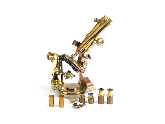 A fine and rare Watson-Draper compound binocular microscope,  English,  circa 1887,