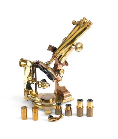 A fine and rare Watson-Draper compound binocular microscope, English, circa 1887,