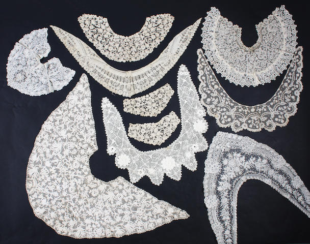 A collection of handmade lace collars