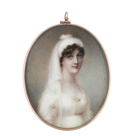 Mrs. Anne Mee  (British, circa 1770-1851) Lady Frances Chetwynd-Talbot (née Lambart) (c.1785-1819), wearing white dress with pearl brooches at her sleeve and corsage, a white turban in her dark upswept and curled hair
