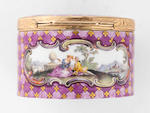 A gold-mounted Meissen purple-mosaic-ground oval snuff-box, circa 1750