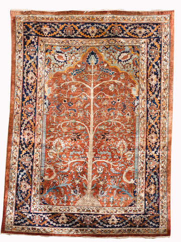 A Heriz silk prayer rug, North West Persia, circa 1880, 183cm x 134cm (6ft x 4ft 5in), minute wear