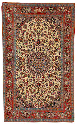 A Tudesh Nain rug, Central Persia, circa 1950, 233cm x 145cm (7ft 8in x 4ft 10in) signed, excellent condition thoughout